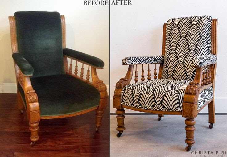 Horatio, 19th Century Victorian Library Armchair, newly upholstered | Before & After | Christa Pirl Furniture