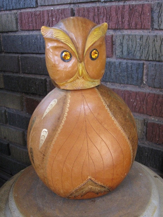 Vintage Owl Decanter Leather Bottle Made in Italy