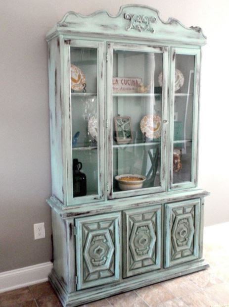Belgian style shabby chic display cabinet