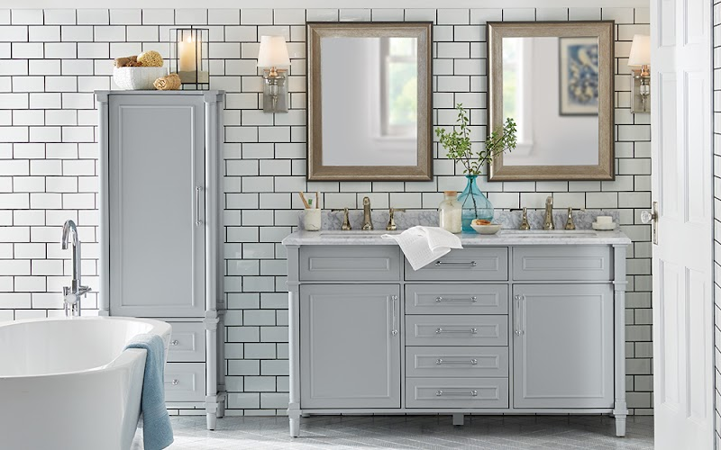 Best Of Bathroom Tile Ideas For Gray Vanity pictures