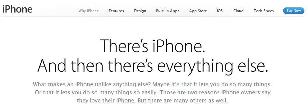iphone آبل تخصص صفحة لمزايا الآيفون مقارنة بالأجهزة المنافسة