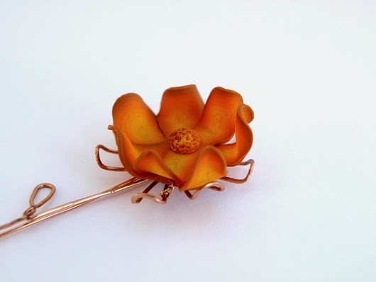 Orange Flower Ombre Brooch Copper and Polymer Clay by SuspirobyAF