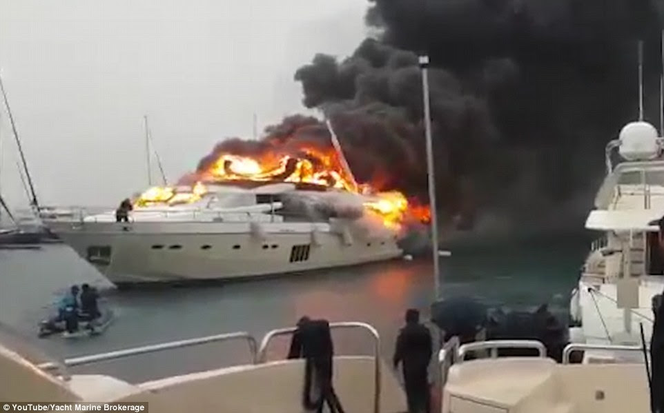The yacht is believed to have been owned by a wealthy Russian businessman and the fire totally engulfed the whole of the boat