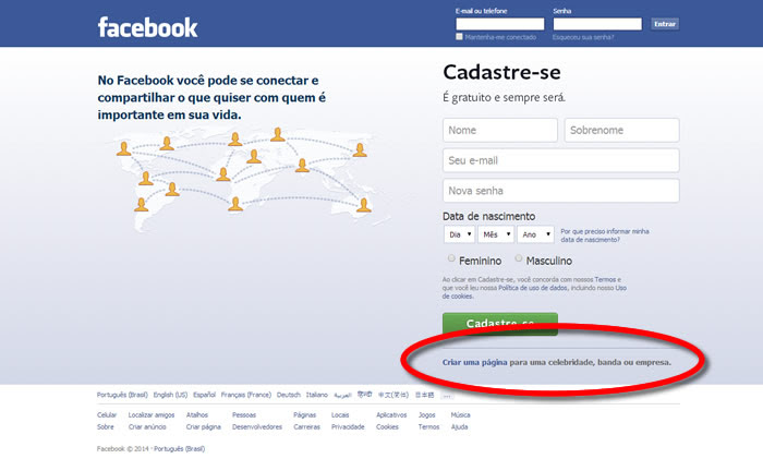 Criar página no Facebook