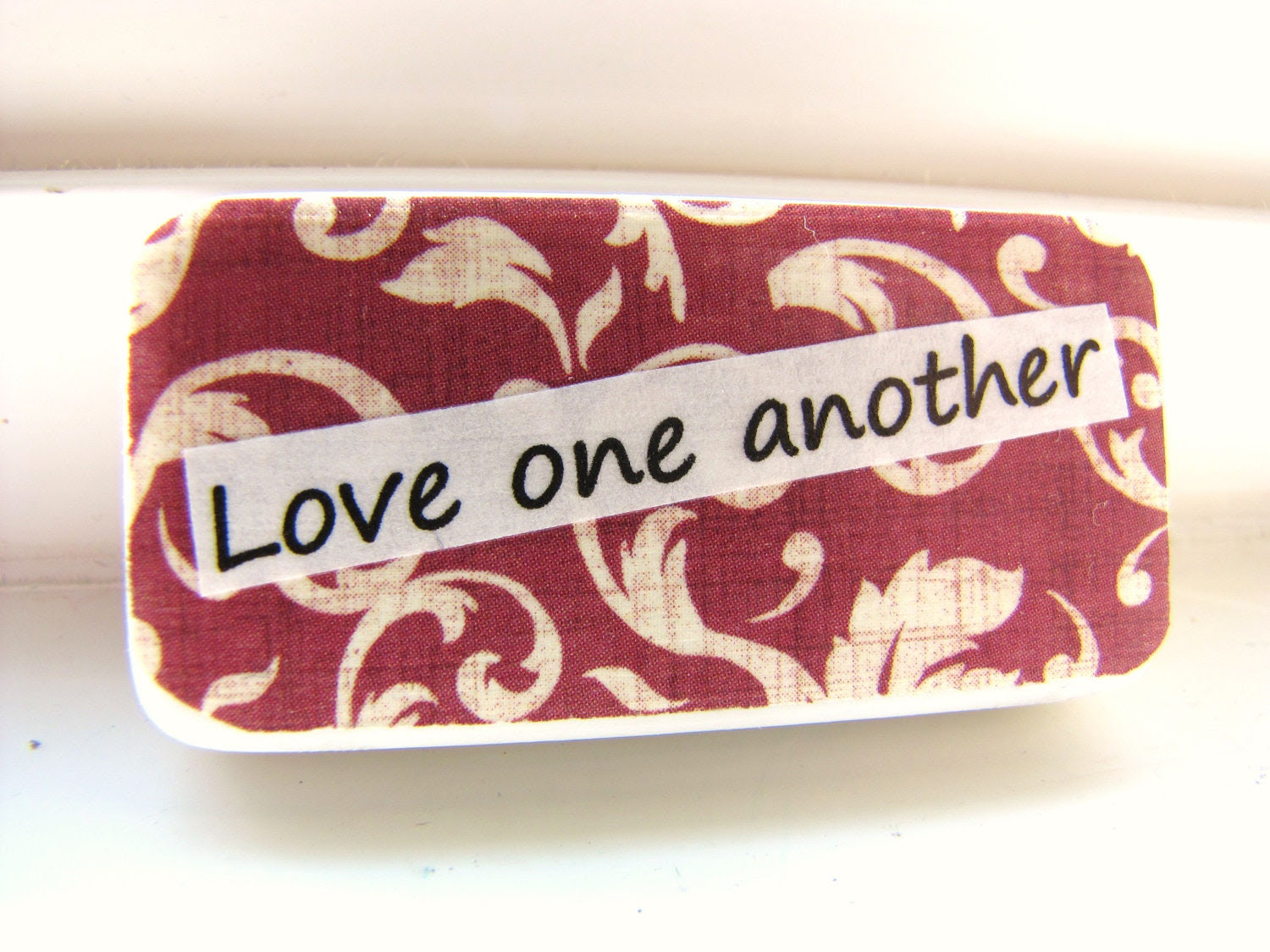Magnet. Christian Home Decor. Brick Red. Love one by MiaBooo