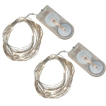 """LumaBase Waterproof Mini LED String Light, Cool White, 169"""" - 2 count"""