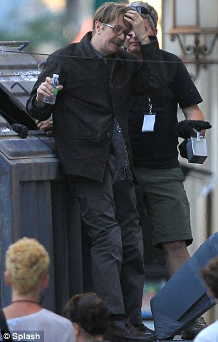 Back on set: Gary Oldman was spotted filming on the Batman set yesterday