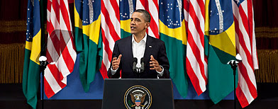 President Barack Obama delivers a speech at the Municipal Theater in Rio de Janeiro, Brazil, Sunday, March 20, 2011. (Victor R. Caivano/AP Photo)