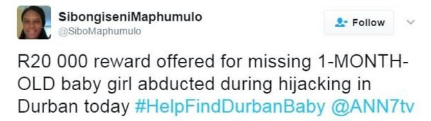 Twitter user Sibongiseni Maphumulo writes: