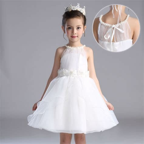 White Girl Dress Pearl Neck Party Wear Flower Girl Vestido
