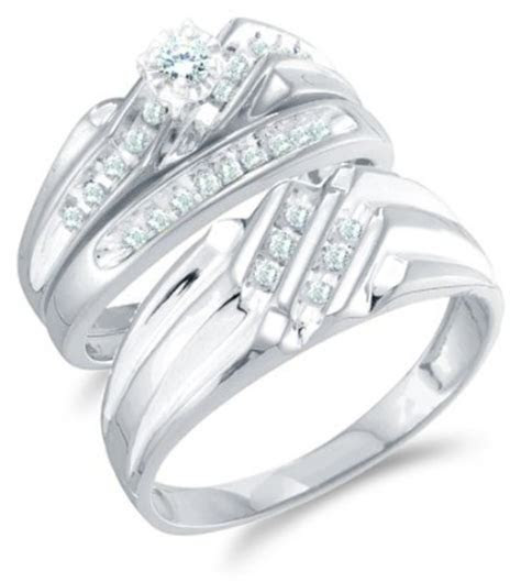 Size 4.5   14K White Gold Diamond Mens and Ladies Couple