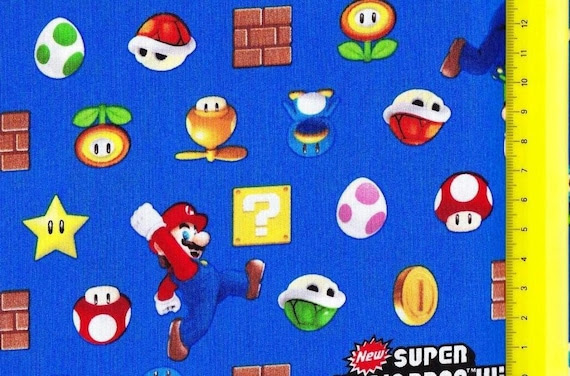 SUPER Mario fabric Blue color Half yard