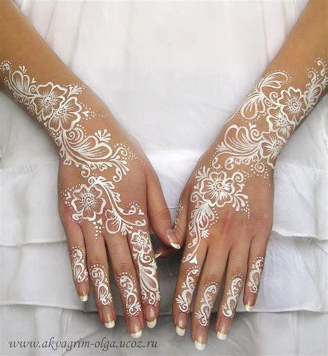 Olga Meleca    white bridal henna paint   Hair and Beauty