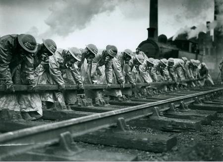Air raid precautions (A.R.P) exercises at Neasden Depot during the Second World War