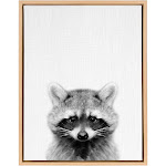 """18"""" x 24"""" Sylvie Raccoon Framed Canvas by Simon Te Tai Natural - Kate and Laurel"""