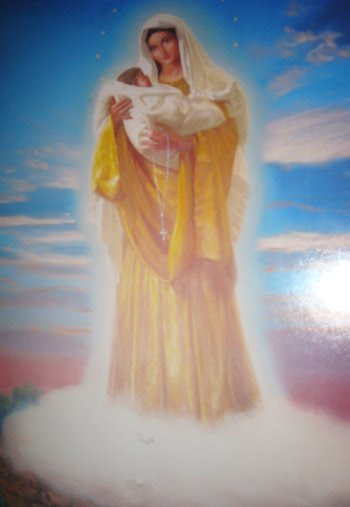 Artist's impression from Vicka's description of Our Lady with Baby Jesus during the apparition, Christmas 1981