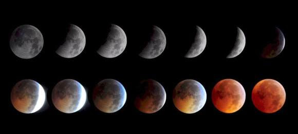 The phases of a total lunar eclipse. Saturday's eclipse will see the briefest totality in a century. Credit: Keith Burns / NASA