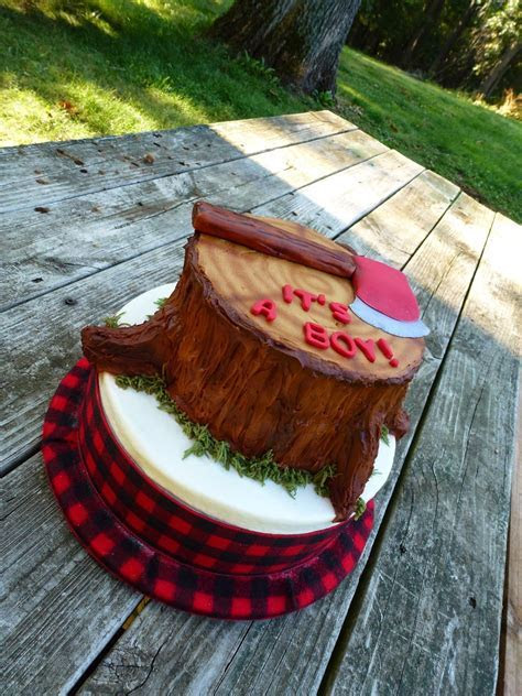 Lumberjack cake Add something as a topper. Possibly deer