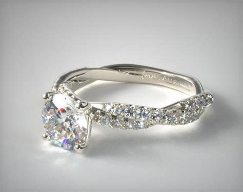 Pave Twist White Diamond Engagement Ring   14K White Gold