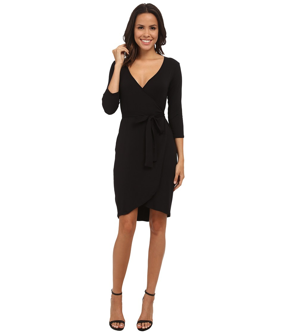 Michael Stars - Exclusive 3\/4 Sleeve Wrap Dress with Belted Waist (Black) Women's Dress