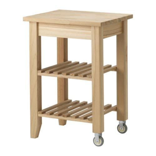 BEKVÄM Carrello IKEA Il legno massiccio si può carteggiare e trattare in superficie, se necessario.