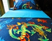 Crib / Toddler Fleece Blanket Set  'Chinese Dragons' for Boys & Girls - Fits Crib and Toddler Beds