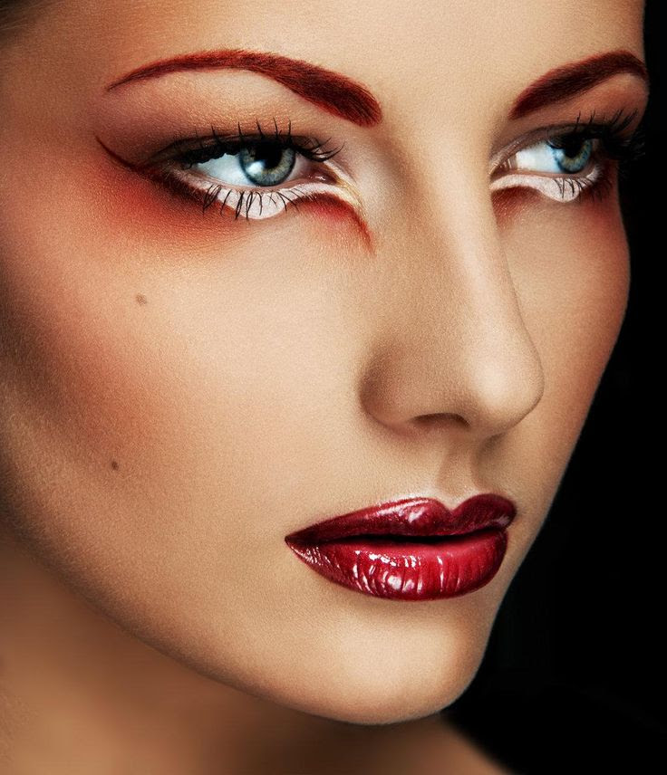 Dramatic eye makeup with glossy red lips