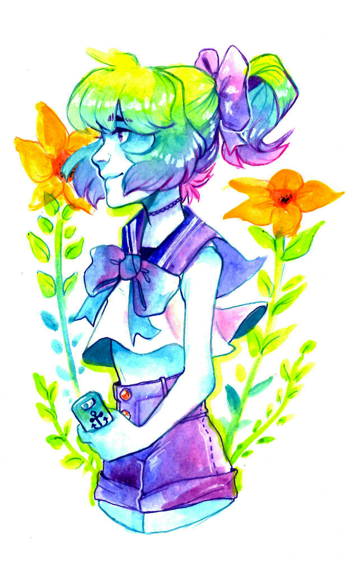 I scanned in my more recent watercolors, and I'm really happy to be able to show you guys the true colors on my Lapis painting bc I'm really proud of how the colors turned out ; ^ ;