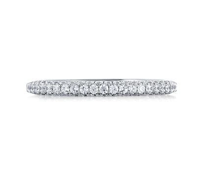 Pave Set Wedding Band with Diamond Studded Profiles
