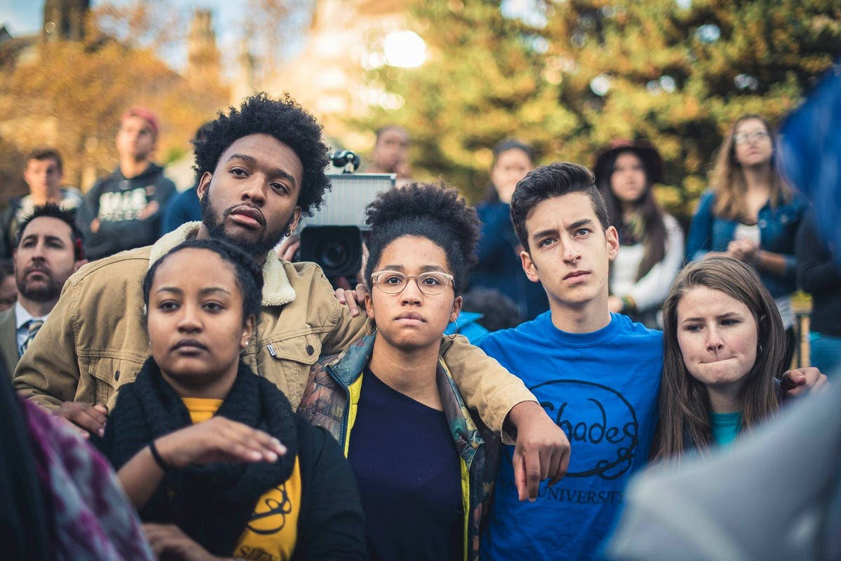 Yale students listen to speakers at the event.