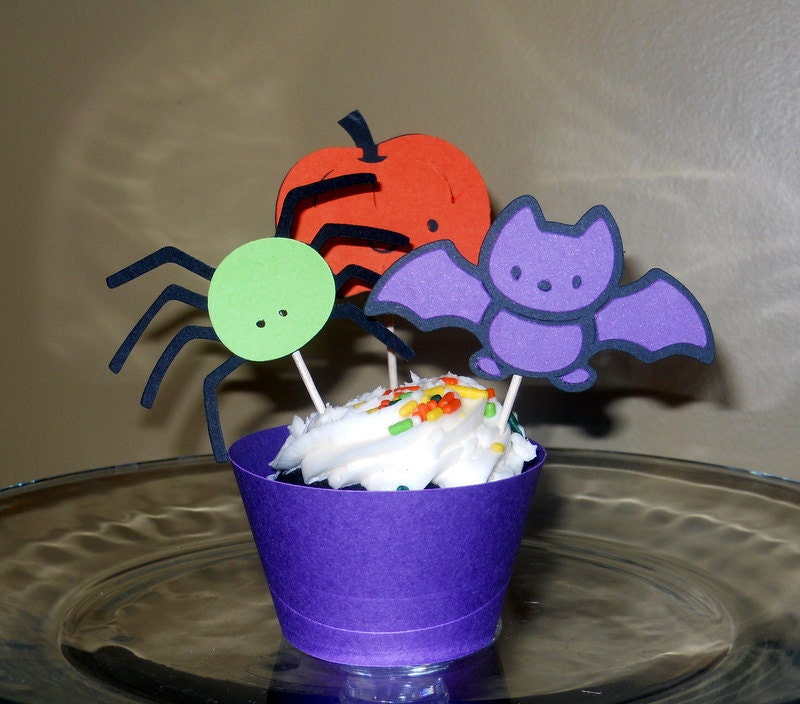 Halloween Cupcake wrappers and toppers - 12 sets
