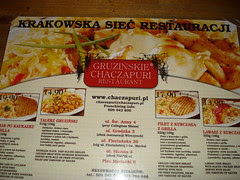 Menu, Georgian restaurant, Cracow