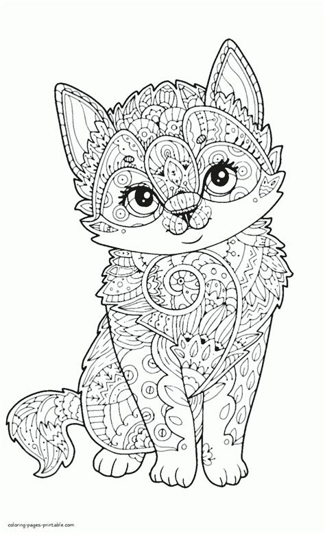 adult coloring animal pages cute cat coloring pages