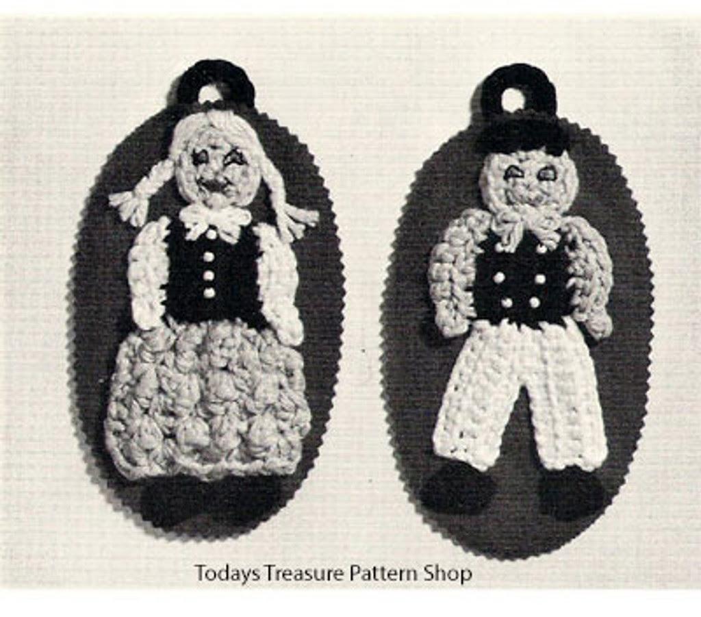Vintage Crocheted Wall Art, Dutch Boy Girl