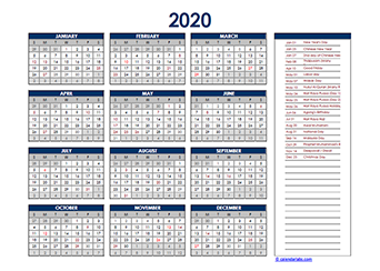 2020 Calendar Malaysia Excel