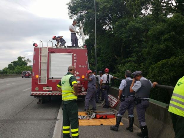 Corpo foi resgatado após ter sido jogado em área de mata próxima à Rodovia dos Imigrantes (Foto: G1)