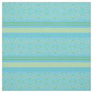 Custom Daffodils Stripes on Sky Blue Pattern Fabric
