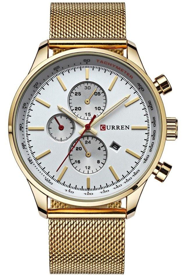 Reloj Fashion CURREN 8227 Dorado - Pulsera Tipo Malla - en Blanco y Negro
