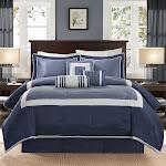 Madison Park Abigail Navy Solid Pieced 7 Piece Comforter Set Queen