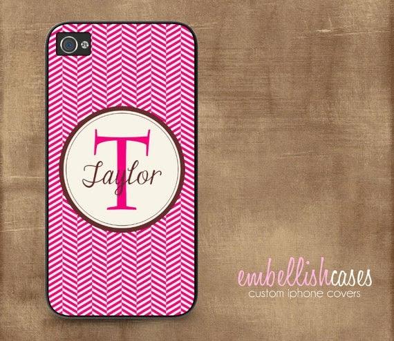 iPhone 4 Case monogrammed - iphone 4s case personalized - modern herringbone lipstick pink brown - 109