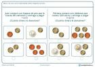 Ficha de calcular el cambio a devolver para niños de siete a ocho años por la que tendrán que marcar el cambio correcto tras una compra.
