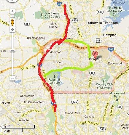 Towson Maryland light rail map