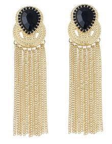 Black Gemstone Gold Chain Tassel Earrings