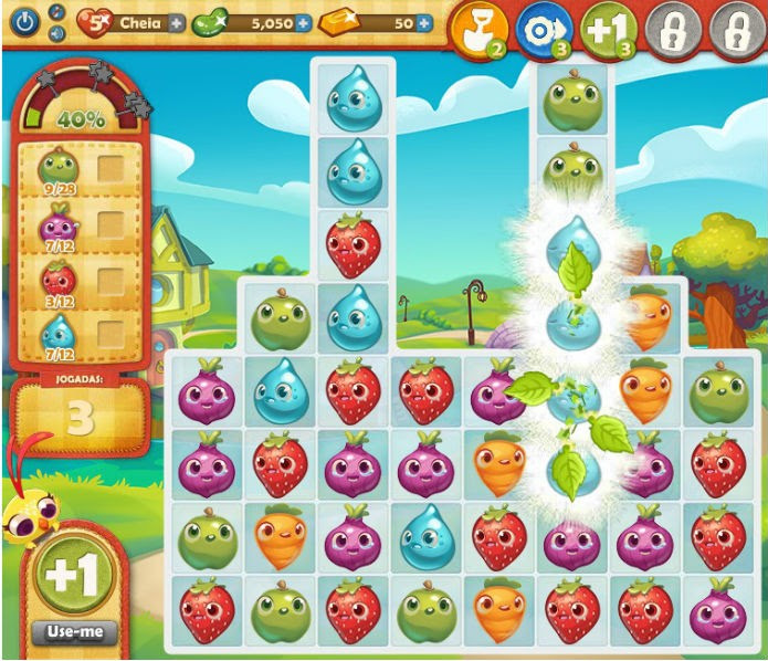 Farm Heroes Saga: Multipliers aumentam o valor de peças ao redor (Foto: Reprodução)