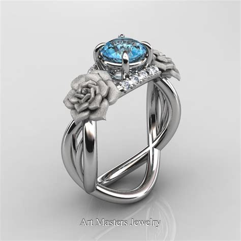 Nature Inspired 14K White Gold 1.0 Ct Blue Topaz Diamond