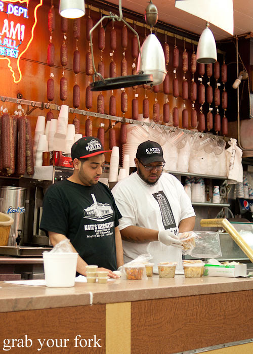 salami counter at katz's deli nyc new york usa jewish food lower east side les