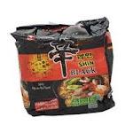 Nongshim Noodle Soup, Black, Pot-au-feau Flavor, Spicy, Family Pack - 4 pack, 4.58 oz packages