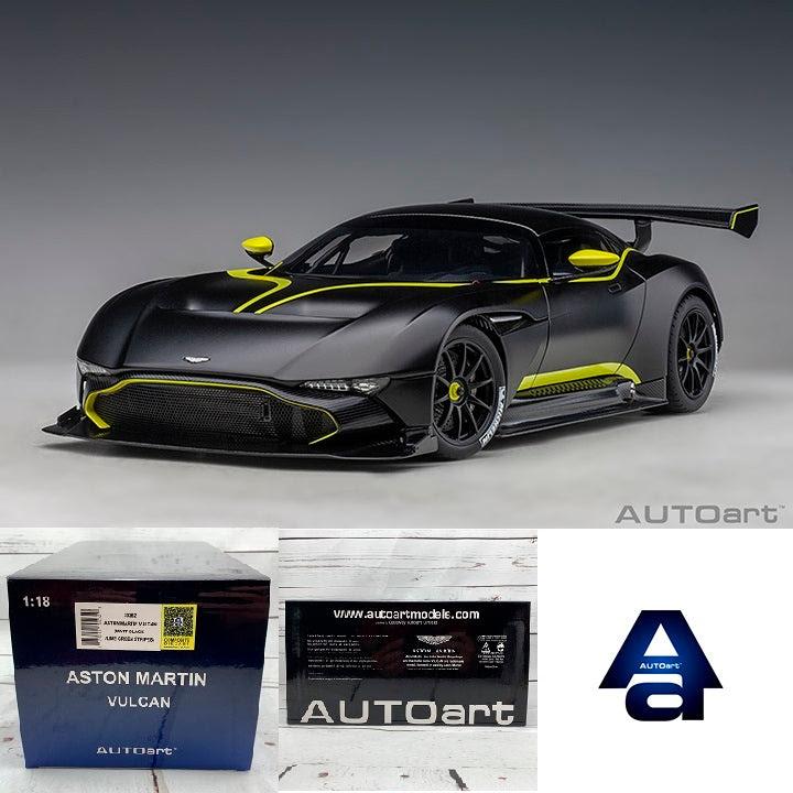 Autoart 1 18 Aston Martin Vulcan Matt Black W Lime Green Stripes 70 Tokyo Station