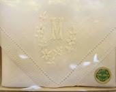 Vintage Irish Cabin - Irish Linen Handerchiefs Monogrammed M - NIB - CeeGeesAttic