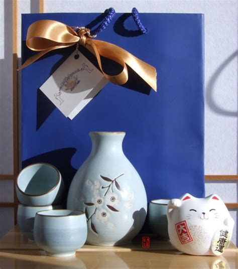 Gifts set   Sake set Japanese light blue cherry blossom